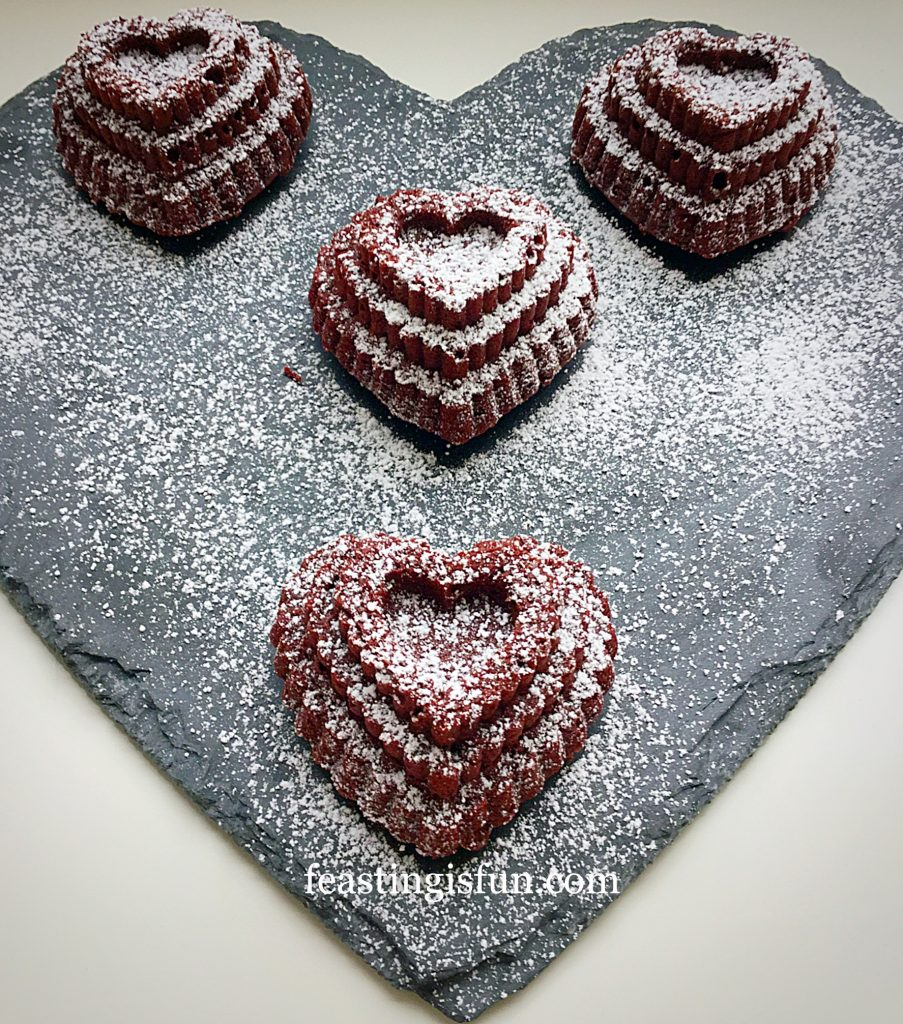 Red Velvet Mini Tiered Heart Cakes