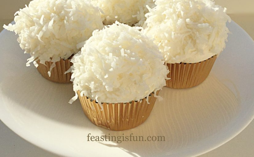 Coconut White Chocolate Snowball Cupcakes