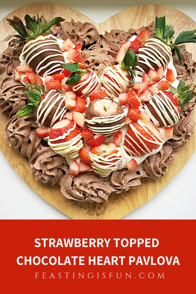 FF Strawberry Heart Topped Chocolate Pavlova