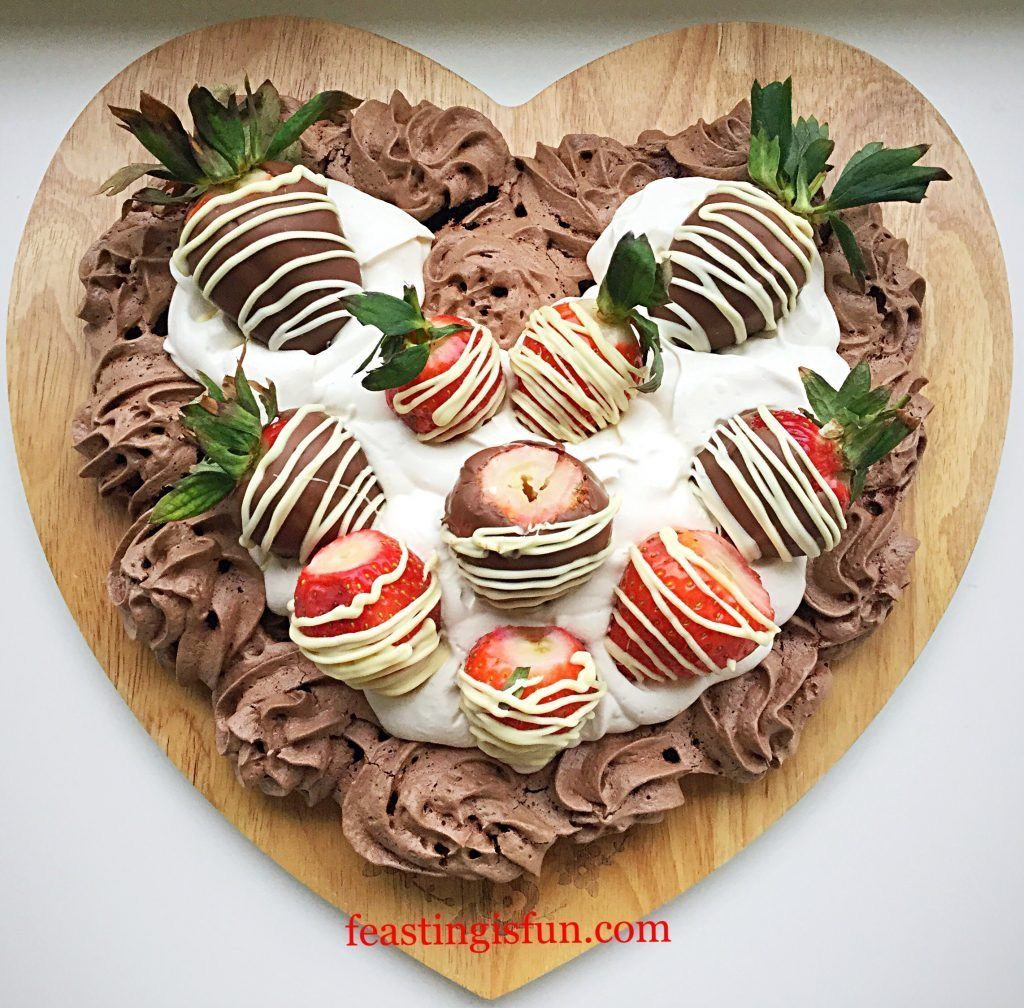 FF Strawberry Topped Chocolate Heart Pavlova