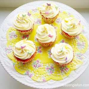 Gluten free marshmallow frosted mango cupcakes