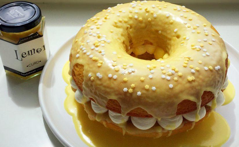 Lemon Drizzle Whipped Cream Filled Giant Doughnut