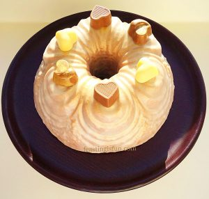 Chocolate Heart Topped Rose Bundt Cake