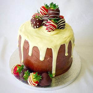 Strawberry Chocolate Vanilla Drip Cake