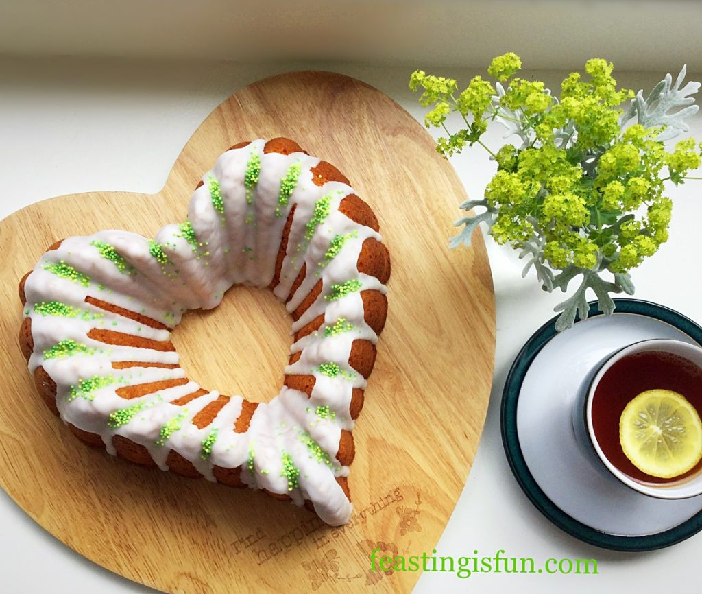 FF Lemon Lime Gin Heart Bundt Cake