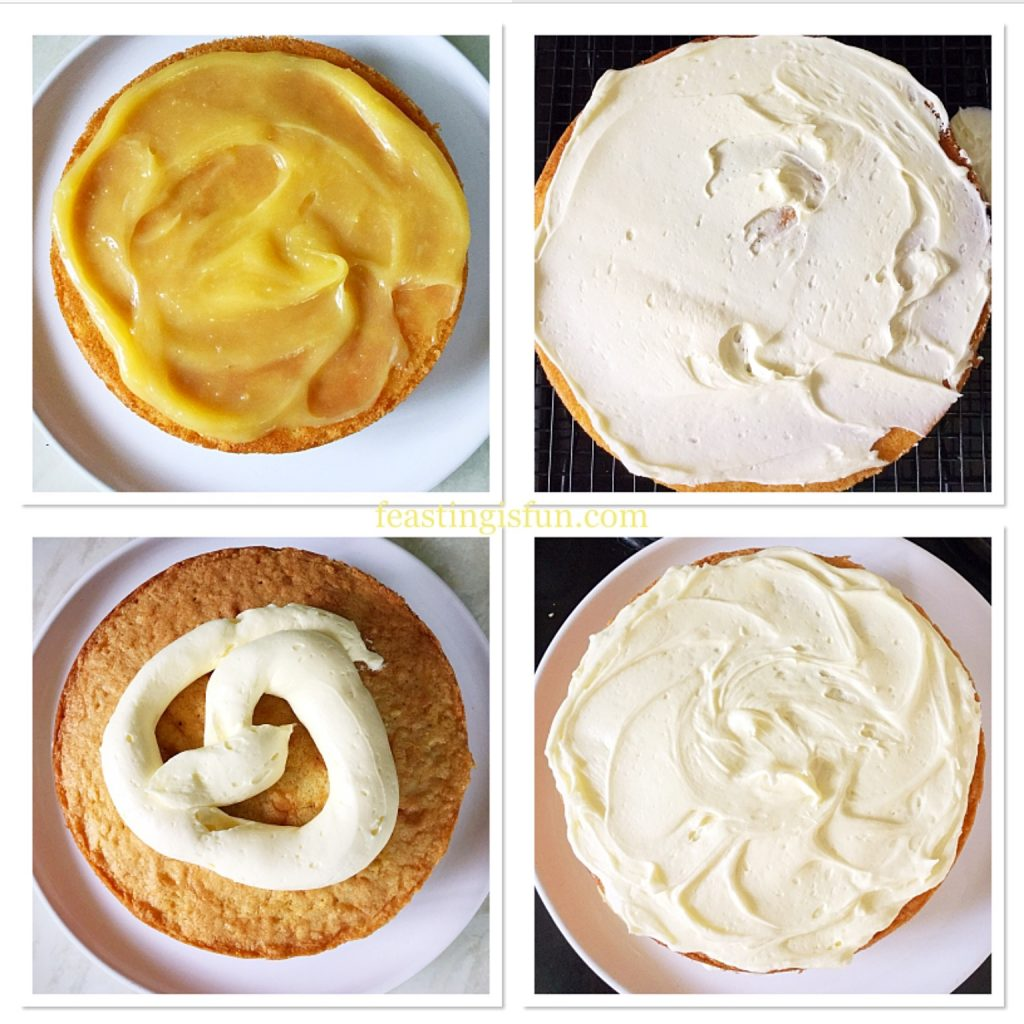 Stages of filling and covering a sandwich cake.
