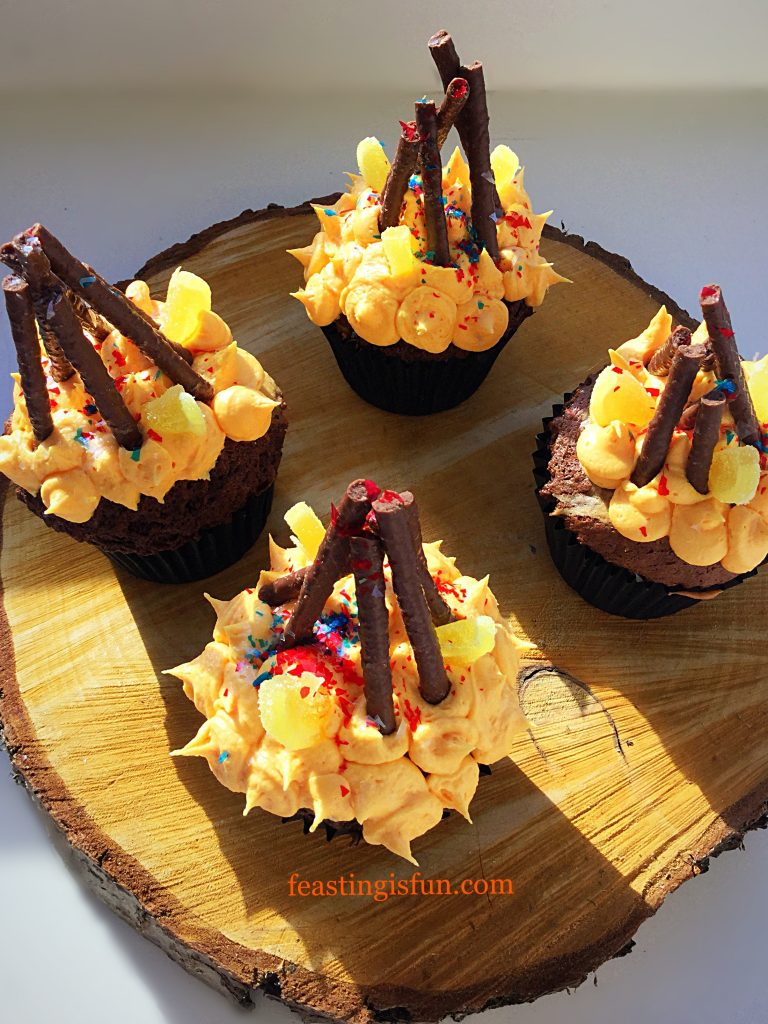 FF Marbled Chocolate Orange Bonfire Cupcakes