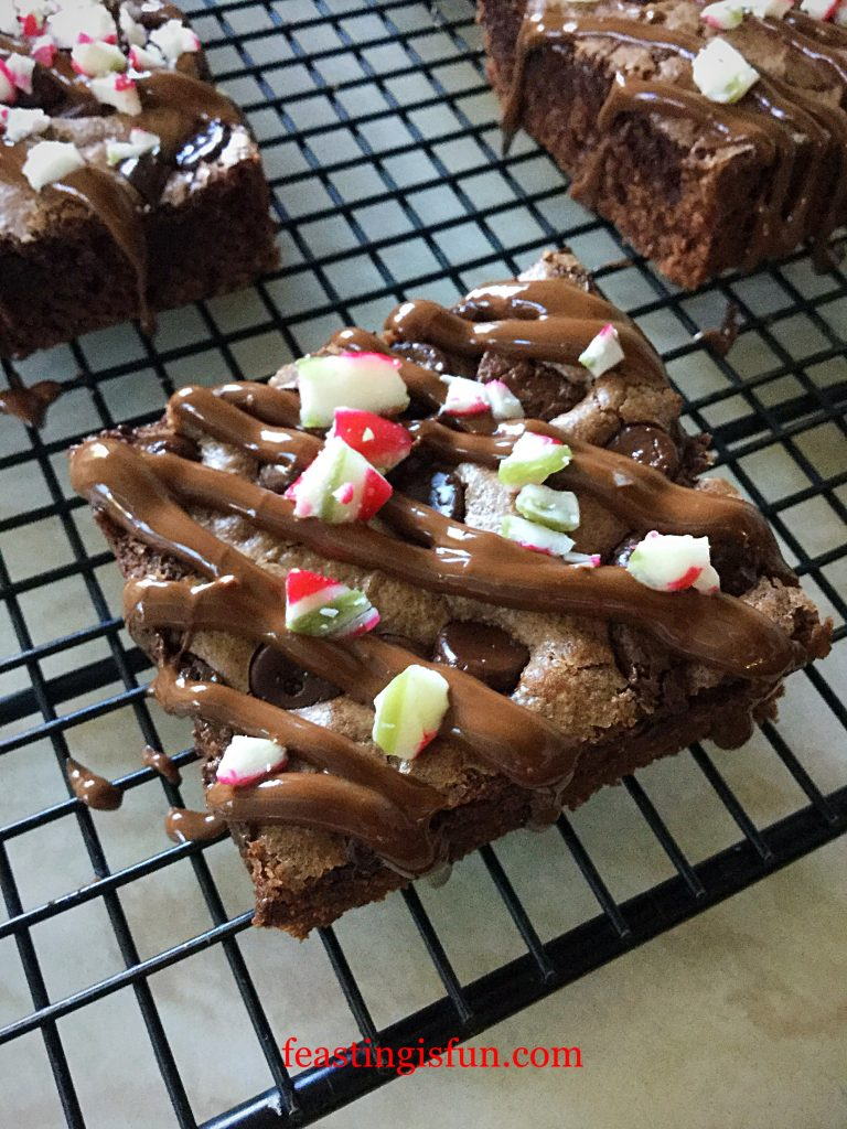 FF Peppermint Candy Cane Topped Brownies