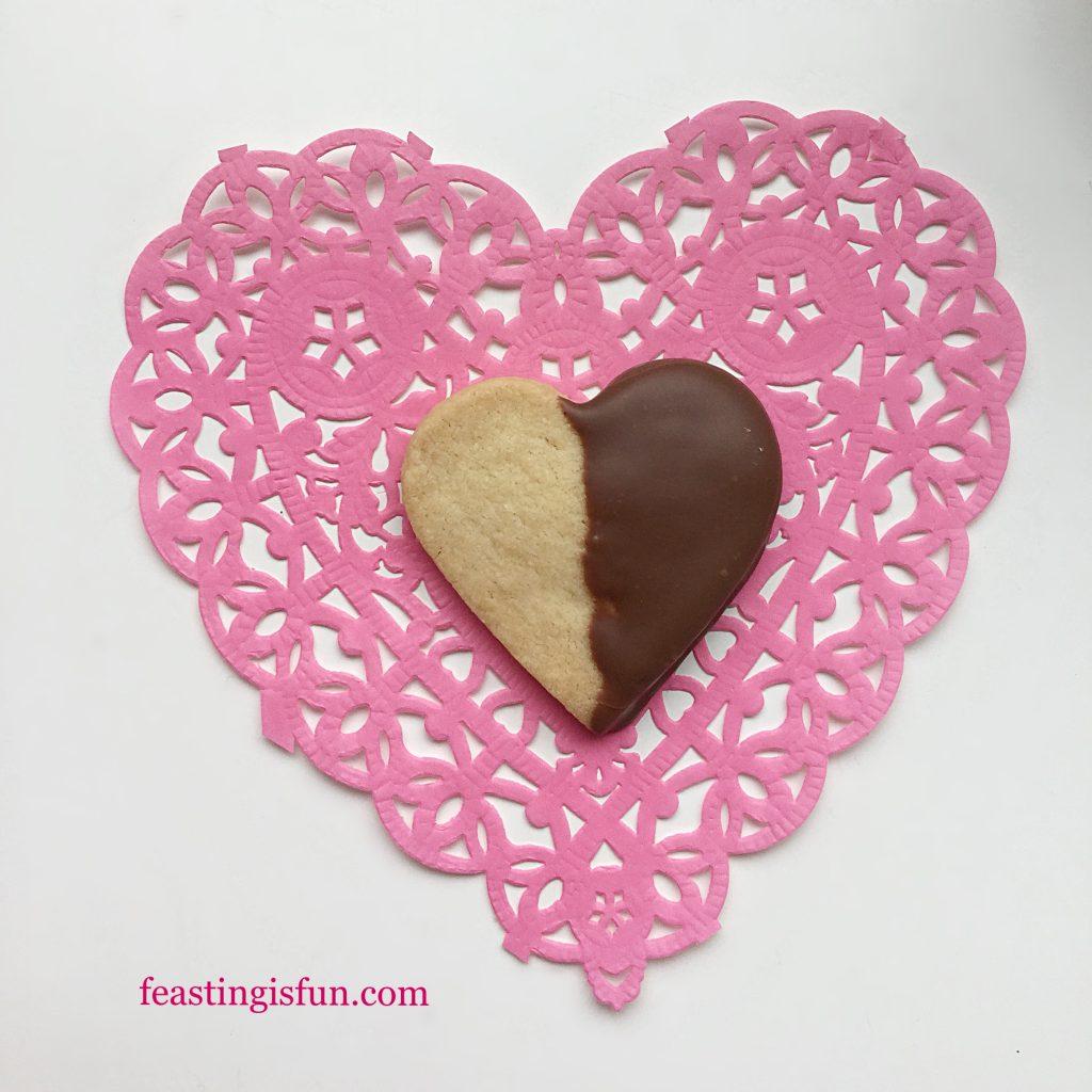 Chocolate Dipped Shortbread Heart Cookies - Feasting Is Fun