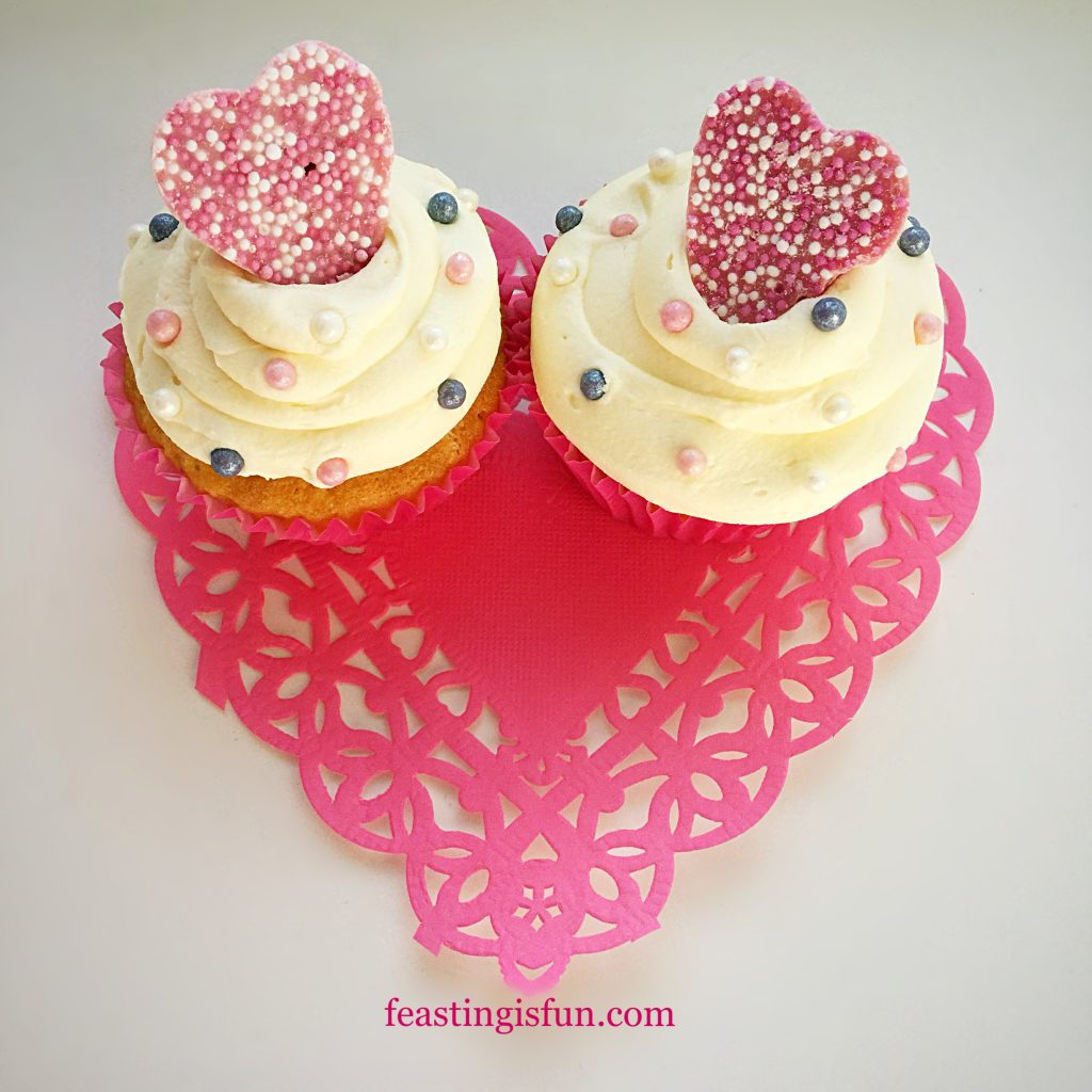 FF Pink Heart Topped White Chocolate Cupcakes