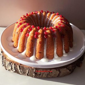 Pomegranate Lemon Drizzle Bundt Cake