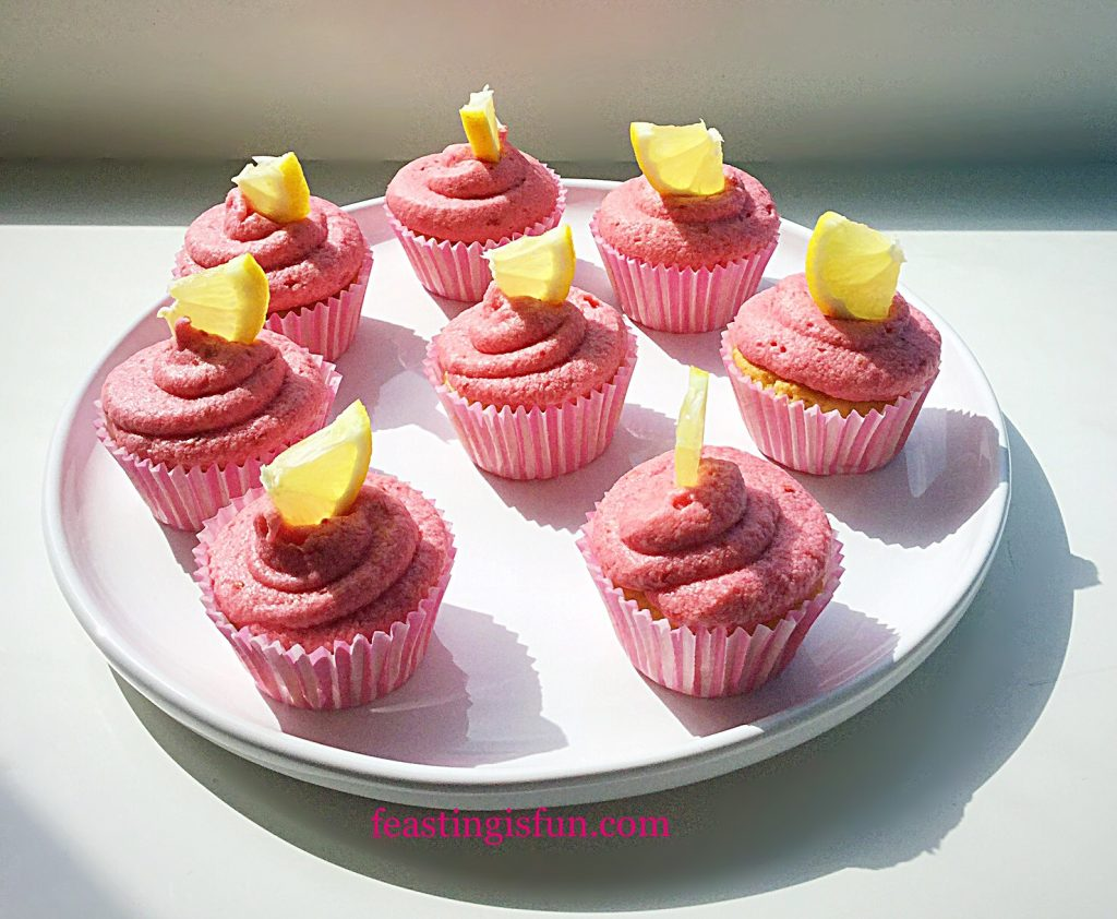 FF Fresh Raspberry Frosted Lemon Cupcakes