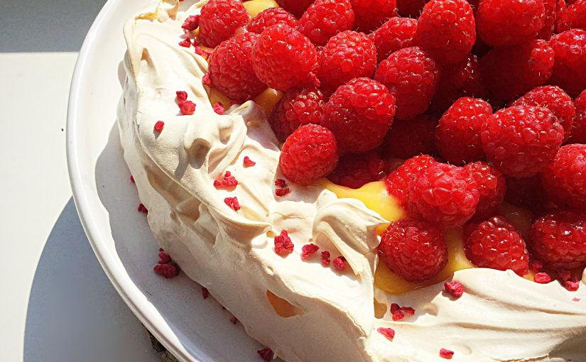 Raspberry Topped Lemon Curd Pavlova