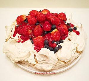 FF Raspberry Topped Lemon Curd Pavlova