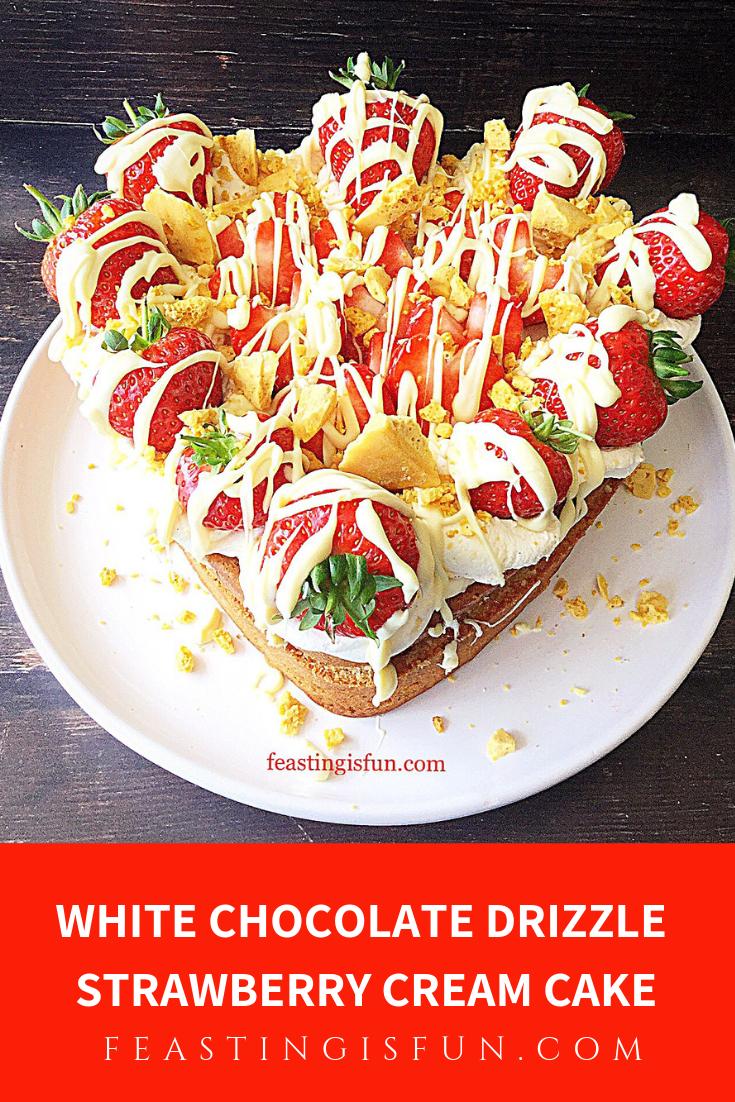 FF White Chocolate Drizzle Strawberry Cream Cake