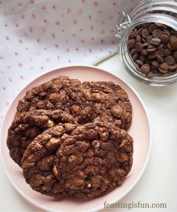 Bakery Style Soft Triple Chocolate Cookies