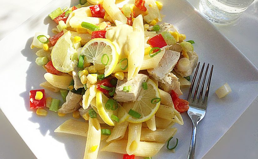 Creamy Garlic Lemon Chicken Pasta Salad