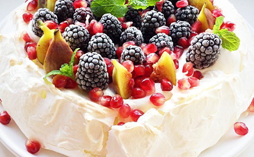 Winter Fruit Topped Pavlova
