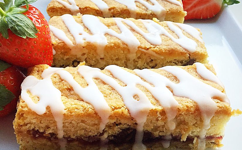 Double Strawberry Cake Bars