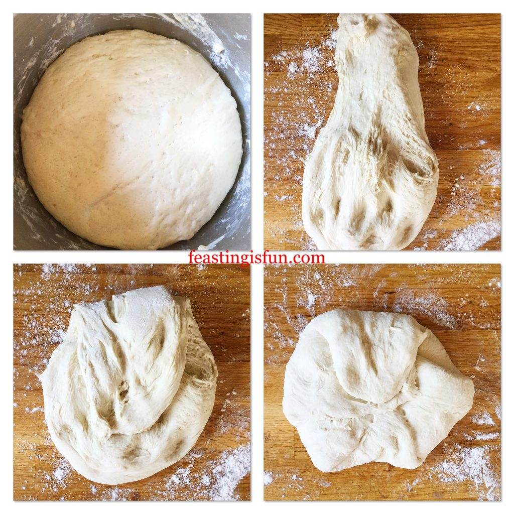 Four images showing each stage of shaping bread.