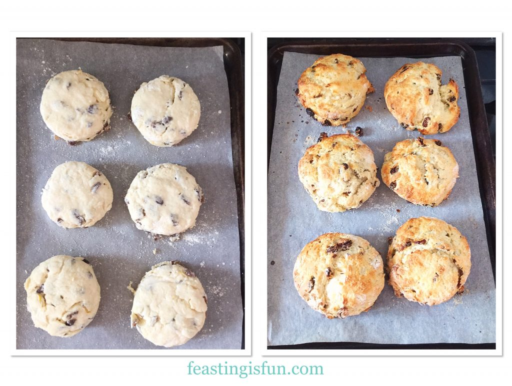 Raw and baked Lemon Sultana Buttermilk Scones
