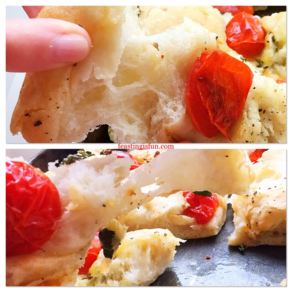 Two images of Cherry Tomato Mozzarella Basil Focaccia showing the light, airy crumb of the bread and the gooey, stringy cheese.