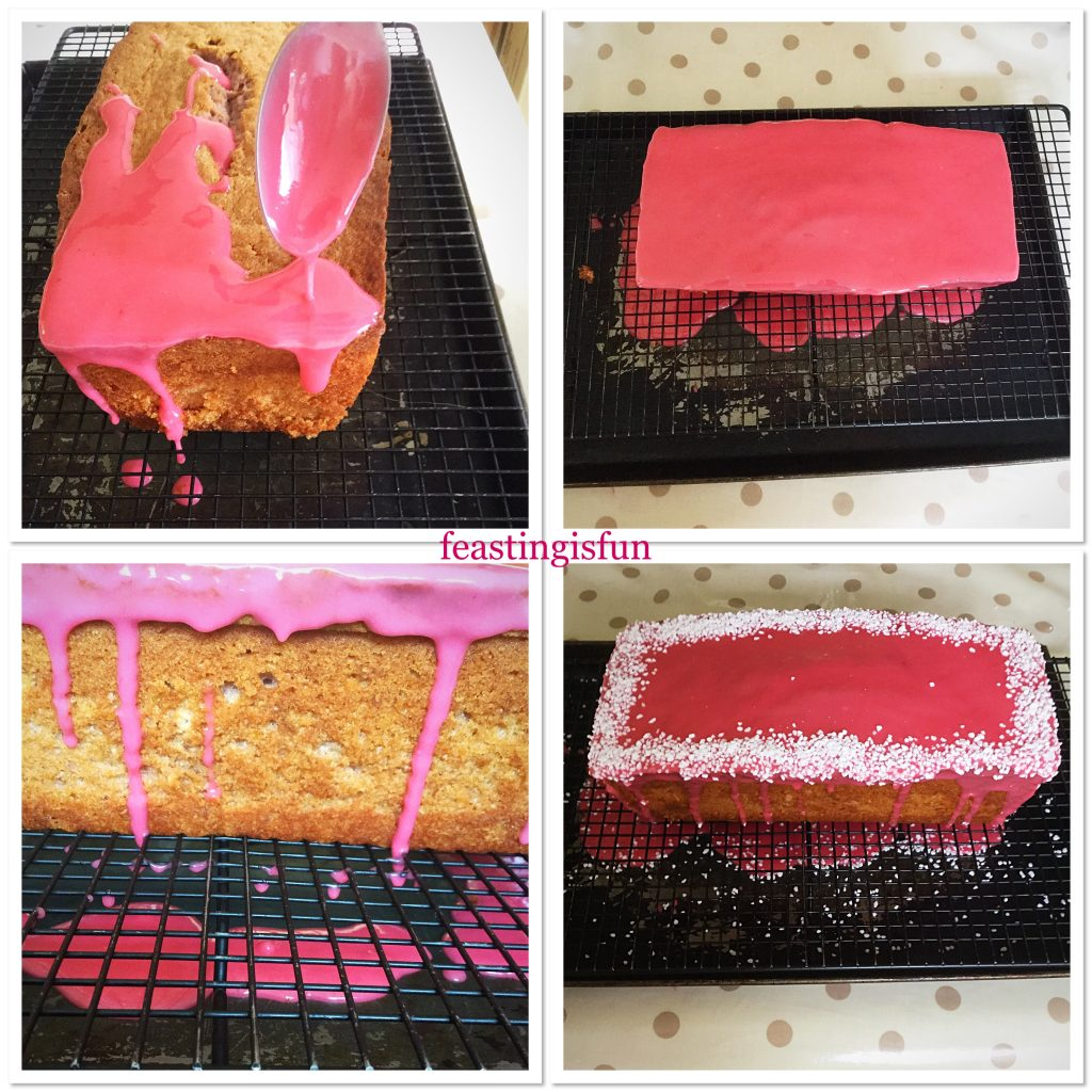 Four separate images showing how to decorate the cake.
