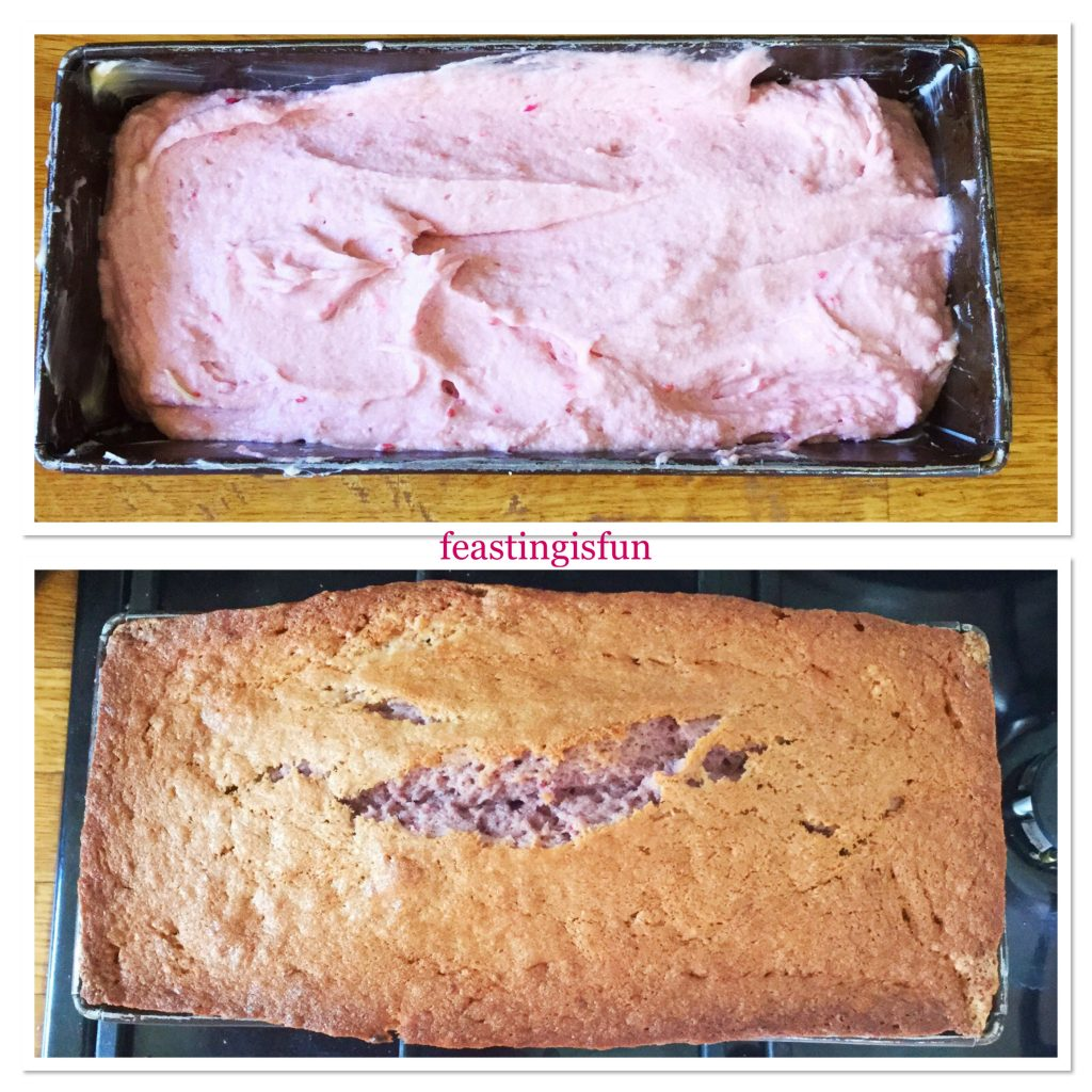 A loaf cake tin showing both the unbaked and baked cake