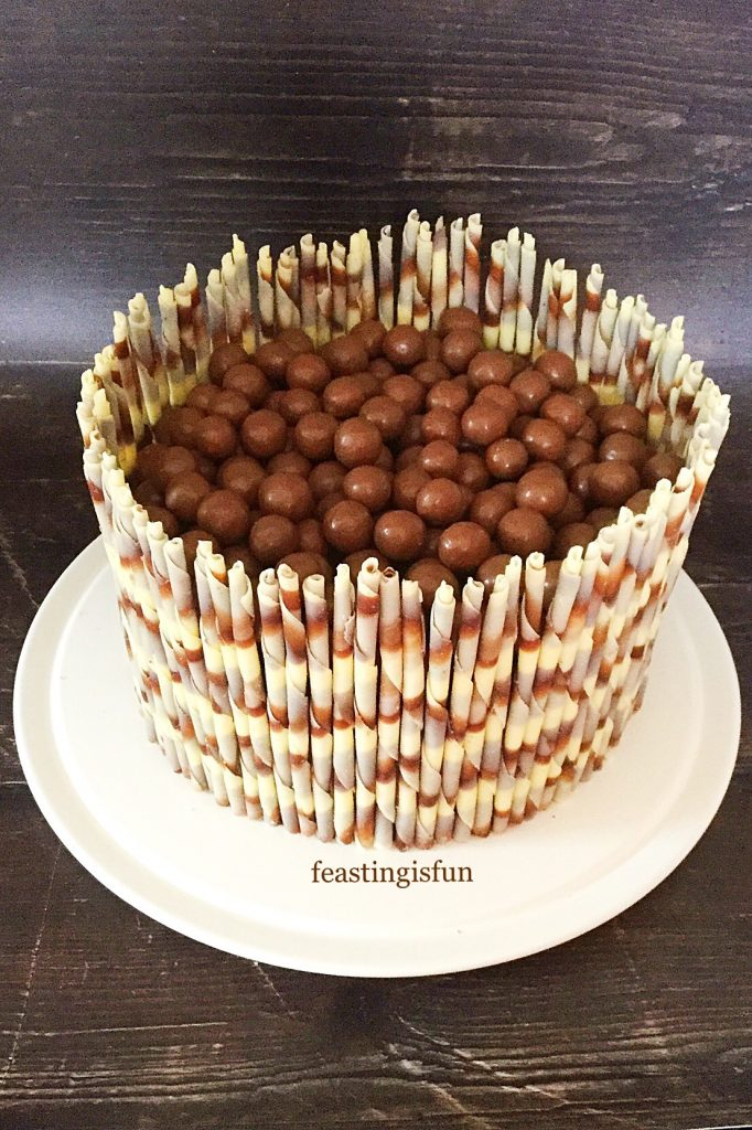 Celebratory bake topped with Maltesers.