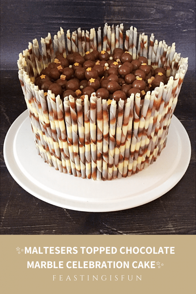 Chocolate birthday cake topped with Maltesers and surrounded with marbled chocolate pencils.