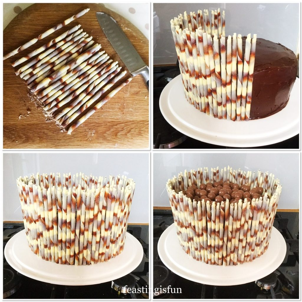 Showing how to add the Callebaut flutes to the side of the ganache covered sponge and then adding Maltesers to the top.