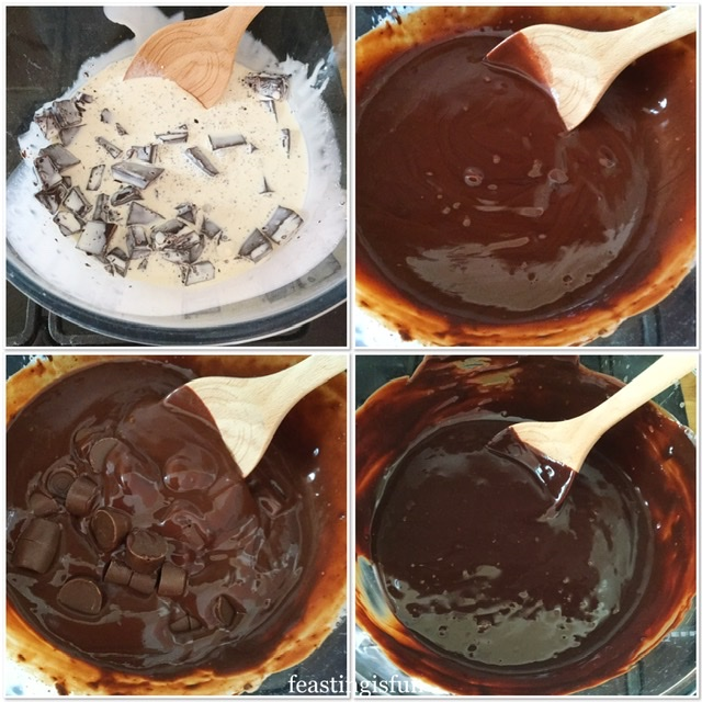 Showing each step to making the chocolate fudge ganache that will be used to cover the cake.