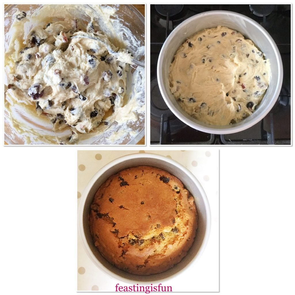 Steps showing the cake tin filled with fruity cake batter and after it is baked.