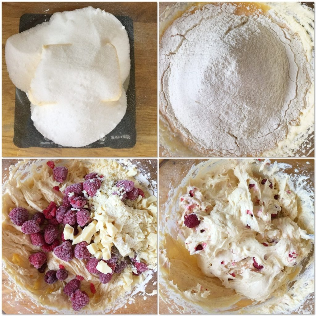 The making of a fresh berry sponge batter.