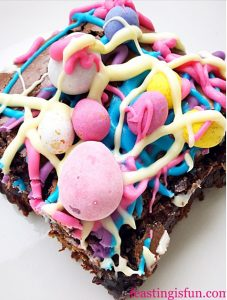 Easter chocolate biscuit base mini egg brownies.