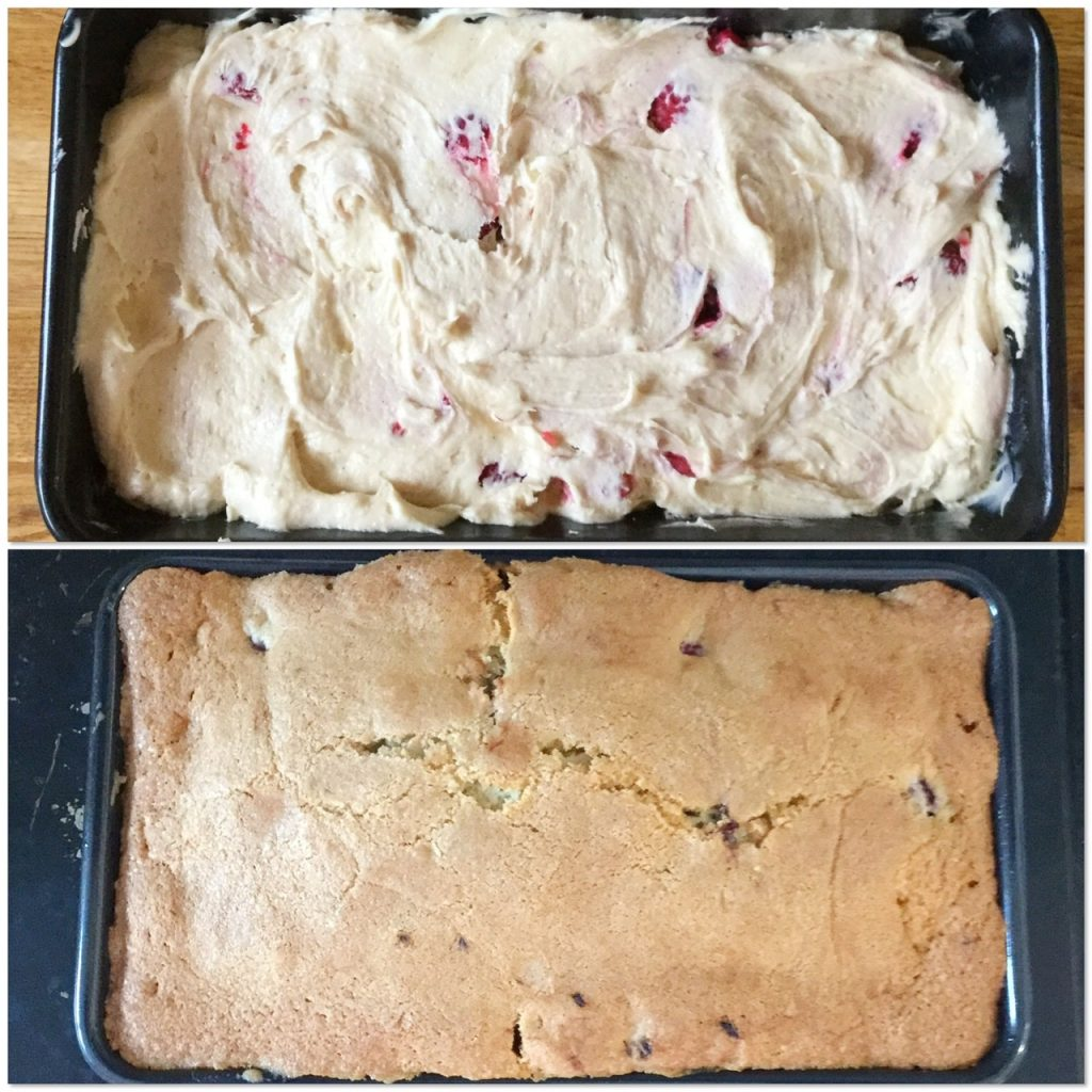 The raspberry white chocolate loaf cake before and after baking.