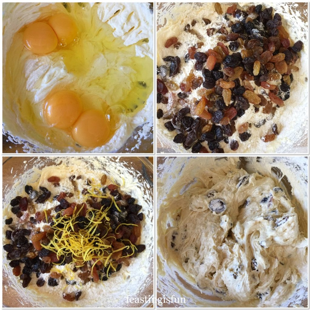 Four images showing the process of making a fruit cake batter.