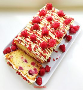 Raspberry White Chocolate Loaf Cake