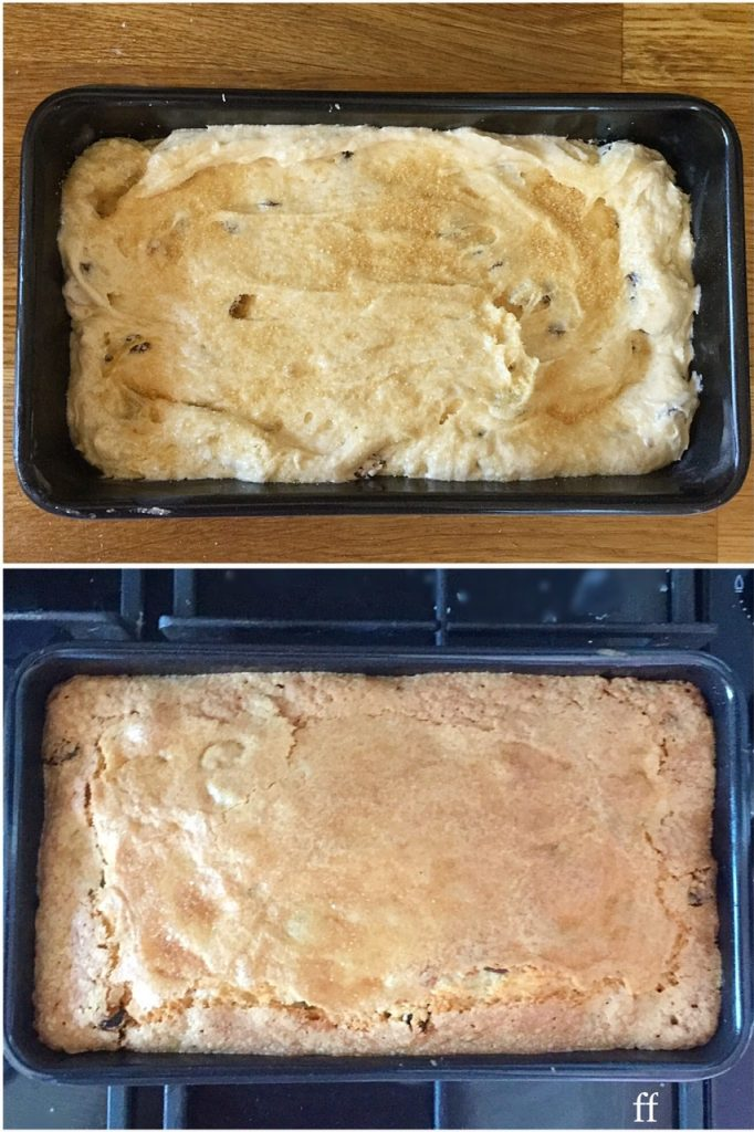 Before and after images showing a sprinkling of Demerara sugar baking to create a crunchy crust on the top of a cake.