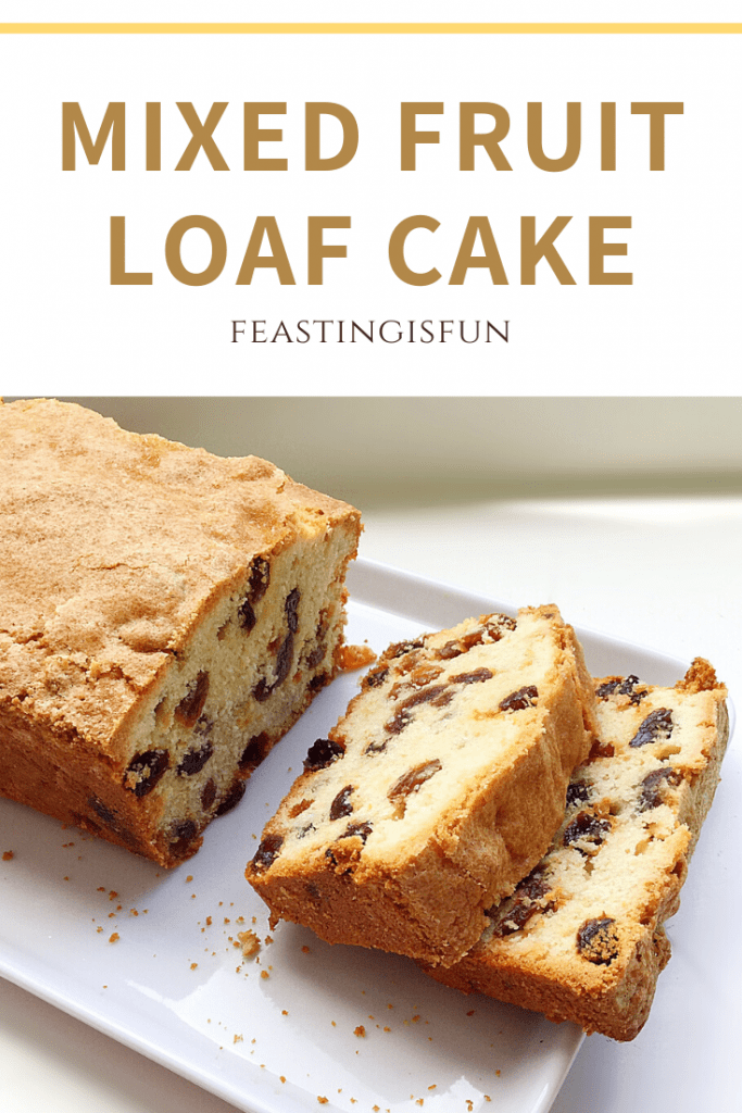 Mixed fruit loaf cake with descriptive graphics.