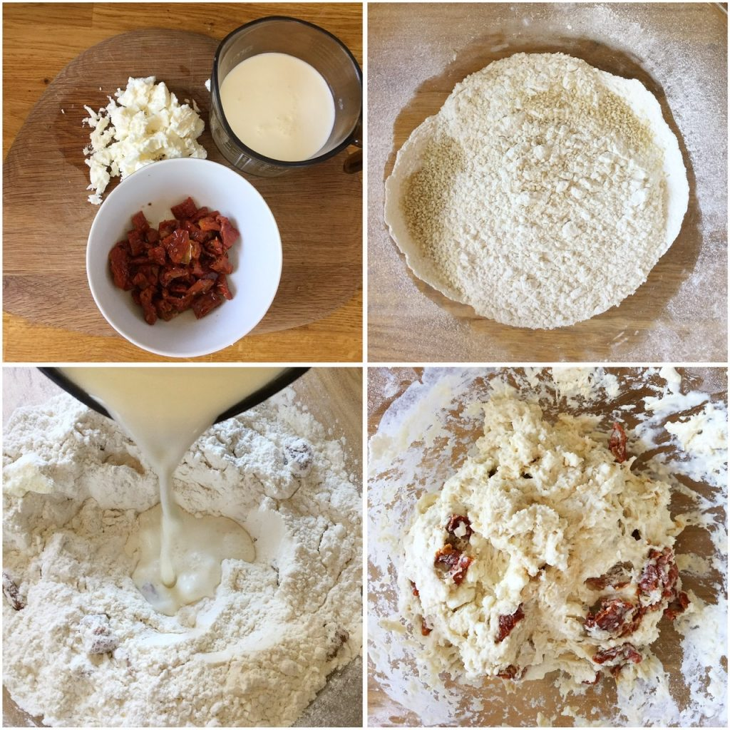 Four steps to making feta sun dried tomato soda bread dough.